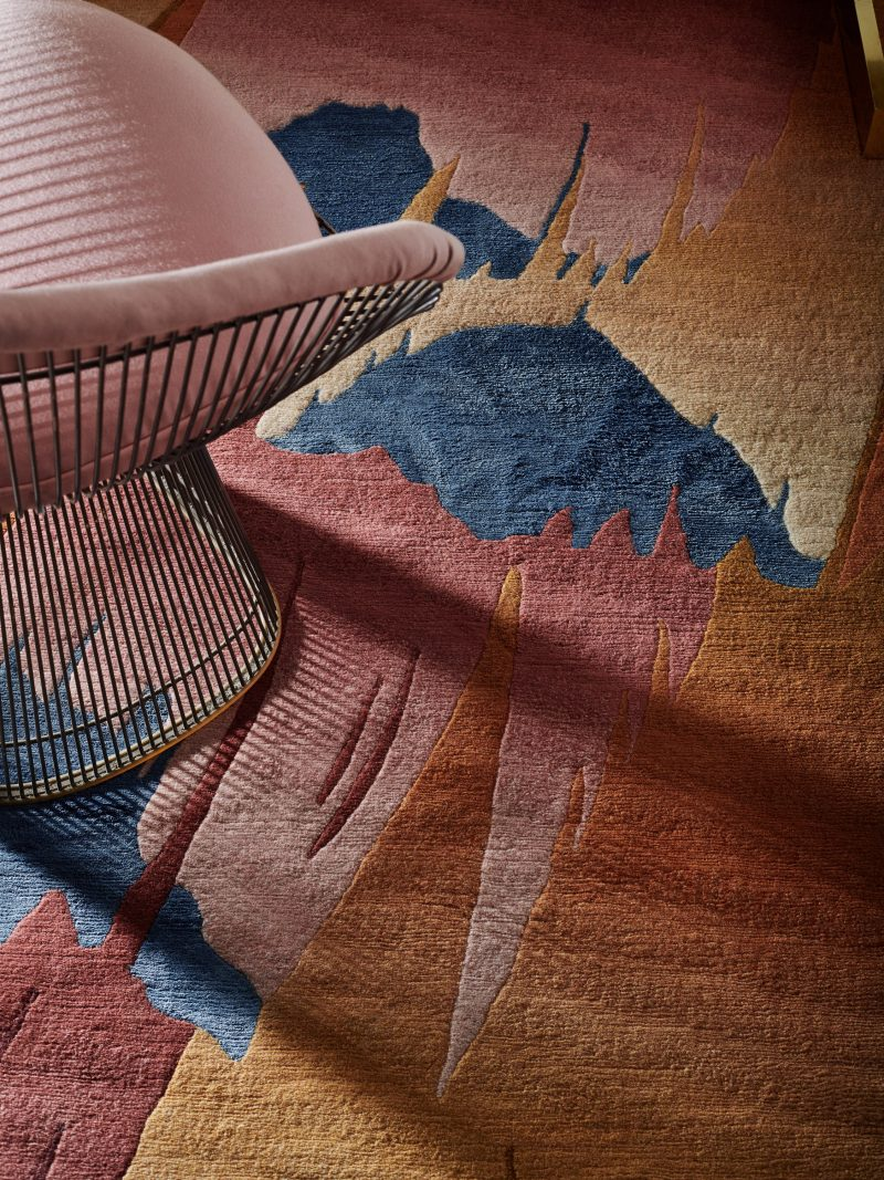 Deirdre Dyson GOLDEN PHEASANT rug, detail of grading and carving