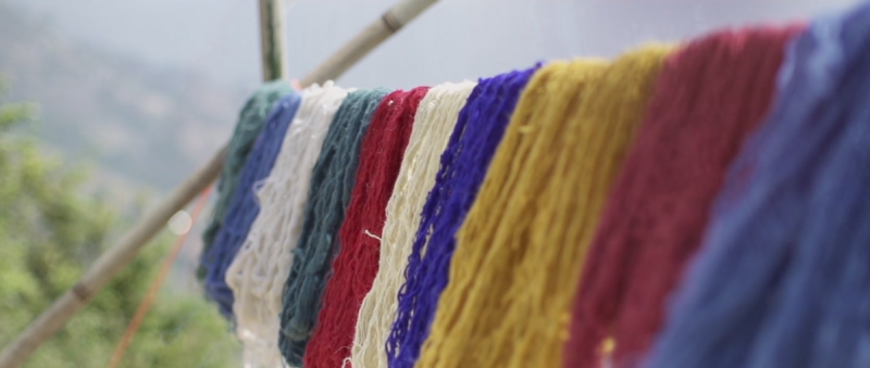 coloured-wool-drying-on-line